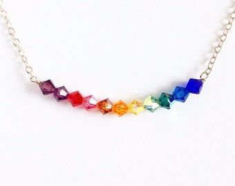 Rainbow Swarovski crystal necklace in sterling silver. Rainbow Necklace. Colorful Bar Necklace