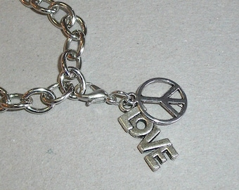 Double Charm, Peace and Love, Clip On Charm for Traditional Charm Bracelets or European Style Charm Carriers, Love and Peace Dangle Charm