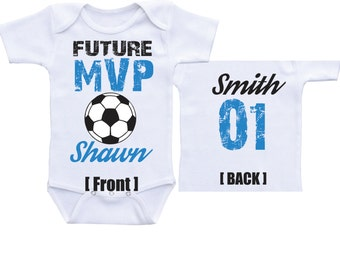 personalized Soccer onesies Future MVP  baby boy soccer baby shower soccer baby shirt baby soccer outfit soccer gift for boys soccer onsie
