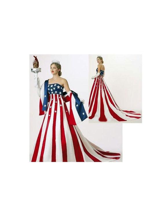 Pageant RWB Patriotic USA America Flag Dress Statue of Liberty
