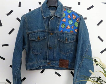 Vintage 90s Crop Jeans Jacket Handmade TMNT Patches size S