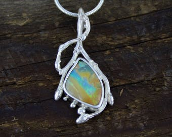 Boulder Opal Pendant, Woodland Opal Glow Necklace, Opal Necklace, Forest jewels, organic jewelry, rustic jewellery, tree of life, branch