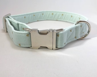 Gold Heart Small Dog Collar · Mint Dog Collar · Metal Buckle · Fabric Collar · Soft Dog Collar · Small Dog Collar · Love Violet