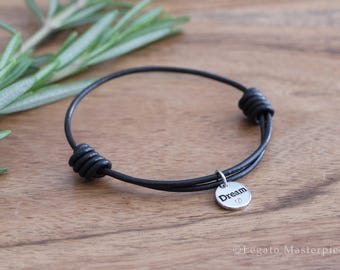 Leather Bracelet with Silver Crystal Charm, Dream | Inspire