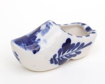 Small Blue and White Dutch Ceramic Handmade Clogs Shoe Ashtray