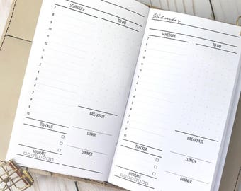 Traveler's Notebook   Day On One Page   DO1P  Hourly  Printed Planner Inserts  Personal Size TN