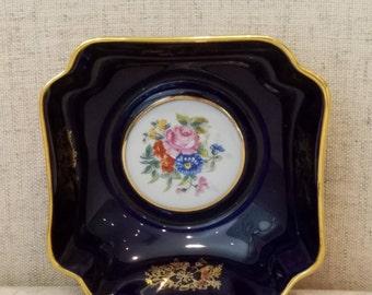 Limoges France decorative bowl, rich cobalt blue with gold trim