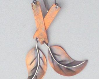 Copper Earrings - Leaf Earrings - Hammered Copper Earrings - Fall Earrings - Mixed Metal Earrings - Long Dangle Earrings - Artisan Earrings