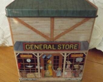 Vintage The Tinsmith's Craft General Store Tin with Hinged Lid, Tinsmith craft, General Store, Hinged tin, Collectible tin, storage tin