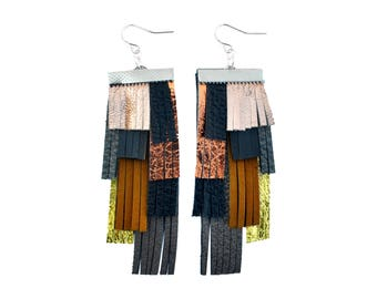 Gold Leather Earrings, Black Fringe Earrings, Geometric Earrings, Metallic Earrings, Tassel Fringe Statement Earrings, Leather Jewelry