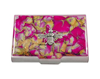 Queen Bee Large Business Card Case Hand Painted Glossy Enamel Fuchsia and Gold Quartz Inspired with Personalized and Color Options