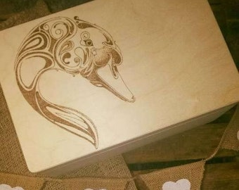 Memory keepsake/ memory  large wooden box engraved, pyrography   swan .Gorgeous wishes and Dreams Swan , personalized, gift