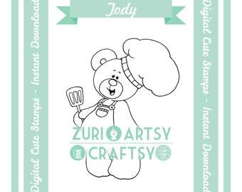 Tody, Digital Stamp, Cute Teddy, Scrapbooking Digital Stamp, Instant Download, Zuri Artsy Craftsy