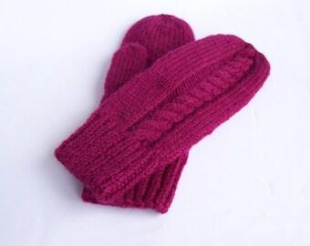 ADO femme mitaines violet mauve grosse laine mitaines moufles cozy pour taille moyenne M et L