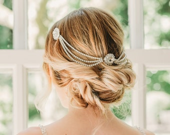 Bridal hairpiece vintage, Hair chain bridal, Wedding headpiece art deco, Bridal hair piece gatsby, Gatsby hair chain, Art Deco wedding