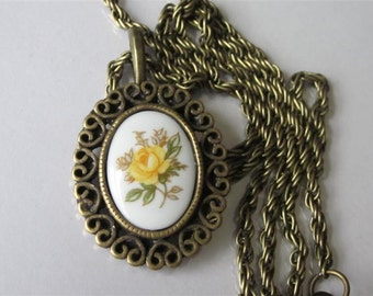 Gift Necklace, Bridesmaid Gift, Porcelain Pendant Necklace, Yellow Rose Cameo, Victorian Antiqued Brass Wedding