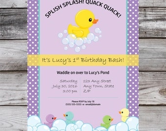 Rubber duck birthday invitation chalkboard rubber ducky rubber duck invite rubber ducky invitation rubber duck birthday party rubber ducky birthday filmwisefo Image collections