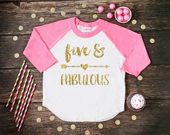 Five and Fabulous Shirt | Fifth Birthday Girl Shirt | 5 Year Birthday Shirt | 5th Birthday Shirt | Birthday Girl Outfit | Five and Fabulous