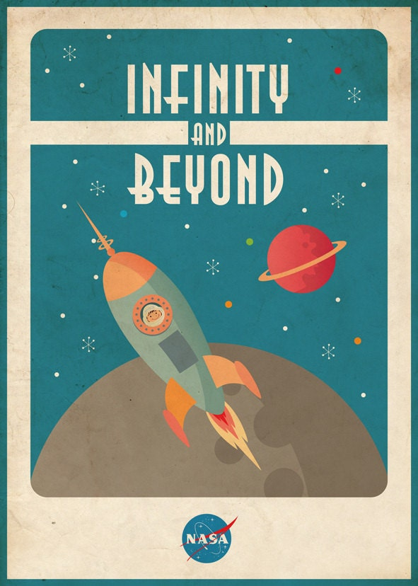 vintage space poster space rocket 50x70 cm. Black Bedroom Furniture Sets. Home Design Ideas
