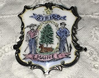 Antique Sterling Silver Enamel State Maine Pin by Charles M. Robbins Vintage Brooch Pin