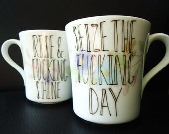 Vintage Motivational Mugs Set of TWO