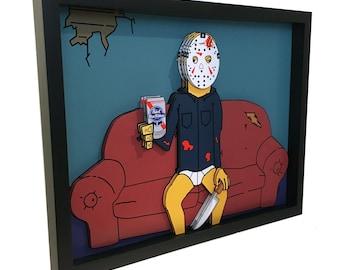 Friday the 13th Art Jason Voorhees Art Pabst Blue Ribbon Pabst Art 3D Art Horror Art Horror Poster Friday the 13th Poster Dark Art Print
