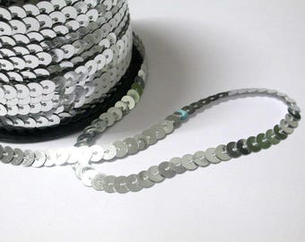 5 m Ribbon lace sequin silver 6mm