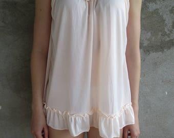 Vintage slip from 90's, mini nylon slip, lace nylon peignoir negligee, nightgown, nightwear, undergarments, short slip size XS, S