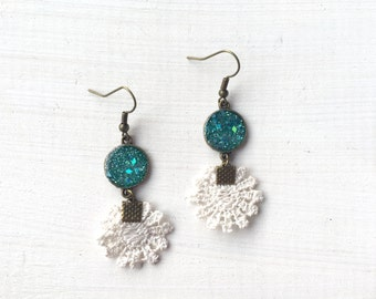 Teal Glitter and Resin with White Flower Lace Earrings