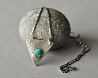 Sterling Silver Triangle Necklace, Artisan Jewelry, Bezel Set Gemstone, Silver and Turquoise Necklace, Geometric Jewelry, Rustic Handmade