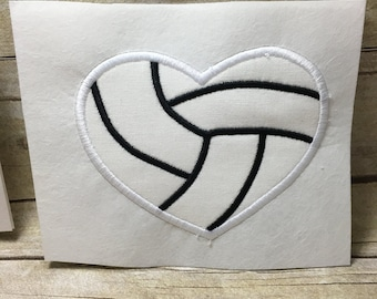 Vollyball Applique Embroidery Design, Vollyball Embroidery Heart Applique