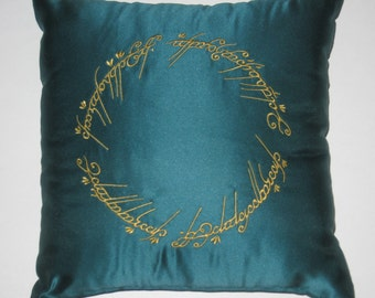 Lord of the Rings Embroidered  Spruce Green Pillow  White Tree of Gondor, Elvish Writing on Ring, and Not All Who Wander Are Lost Pillows