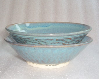 Set of 2 Blue Bowls - Wheel Thrown Pottery Nesting Bowls with Chattering for Texture