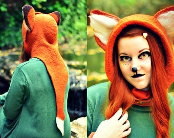 Fox Ears and Tail Hat. Red Fox Hood. Fantasy Hat. Cosplay Hat. LARP.
