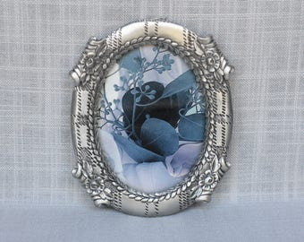 Vintage Seagull Pewter Photo Frame - Pewter Picture Frame - Oval Picture Photo Frame with Roses Design - Christmas Gift for Coworker