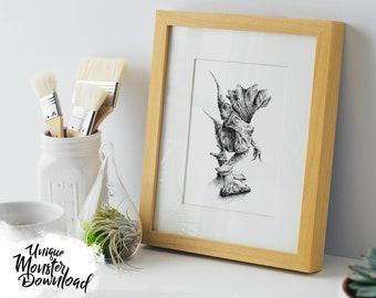 Digital Download, Instant download, Printable, Monster Artwork: Stone Walker