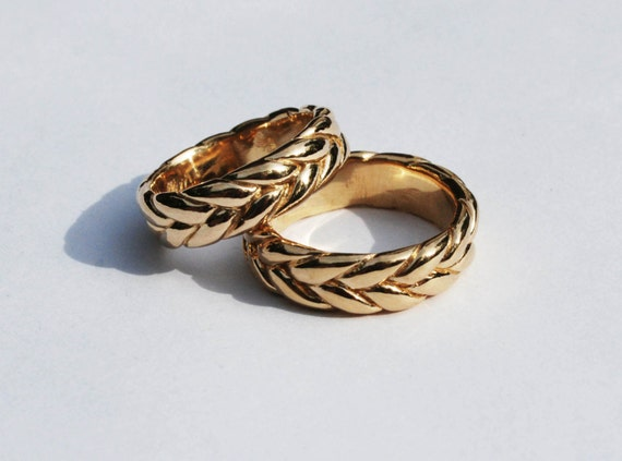Extra Wide-Thick 14K Solid Gold Braid Ring