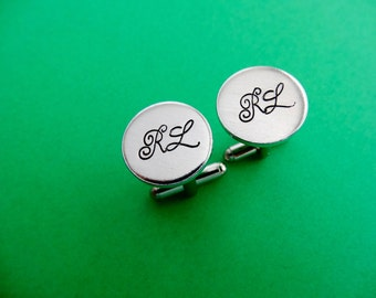 Personalized Cufflinks - Initial Cufflinks - Custom Initial Aluminum Cuff links