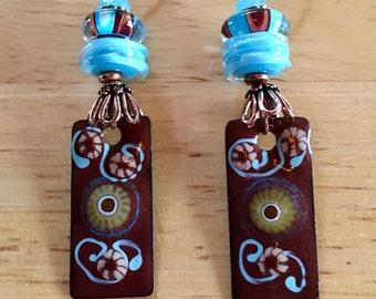 Blue Enameled Copper Charms and Lampwork Dangle & Drop Earrings