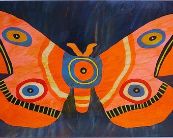 "Big Wings 24""x48"" acrylic on board w/ varnish, wood backing, ready to hang"