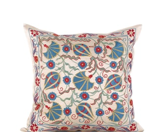 "20"" x 20"" Pillow Cover Suzani Pillow Suzani Pillow Hand Embroidered Pillow Uzbek Suzani Pillow FAST SHIPMENT with ups or fedex - 10743"