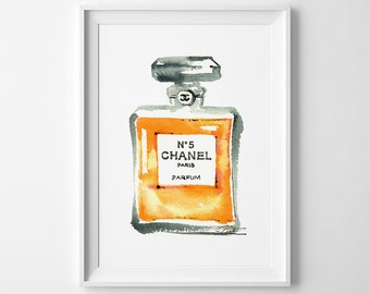 Chanel No 5 Perfume Watercolor Illustration Archival Art Print Fashion Fragrance Painting Artistic Wall Art Home decor Paris Scent Artwork