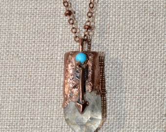 Copper Quartz Crystal Turquoise Arrow Necklace