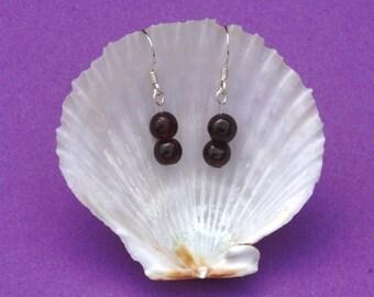 Garnet and Sterling silver earrings, hypoallergenic earrings, deep red earrings, Aquarius, Capricorn, Virgo, Leo, Gemstone earrings