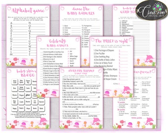 Under the sea games, Girl Baby Shower games package, baby shower games printable, 8 games pack, jpg and pdf - Instant Download - uts01