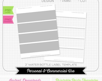 Water Bottle Label 2 inch Template - INSTANT DOWNLOAD - PRINTABLE - Make your own party printables
