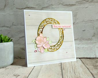 mother's day card - thank you card - anniversary gift- valentines - romantic - gift for her - flowers - bouquet - vintage - gold - pink
