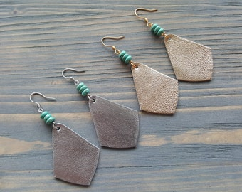 Diamond Shape Leather Earrings, Dangle Silver Earrings, Turquoise Earrings, Gold Boho Earrings, Bohemian Earrings, Lightweight Earrings.
