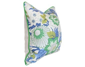 Eliza's Garden Chesapeake Robert Allen Designer Pillow Cover - Floral Blue Green Grey and Chartreuse Decorative Cushion (Single-Sided)