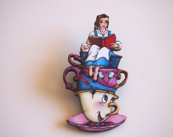 Teacup Belle - Beauty and the Beast - Laser Cut Wood Brooch
